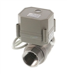 "1"" Stainless Steel Motorized Ball Valve - Power off / closed."