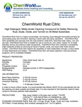 ChemWorld RUST CITRIC Technical Information