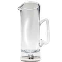 Krosno Crystal Water or Juice Jug with Sterling Silver Base Collar