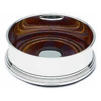 Sterling Silver Bottle Coaster with Straight Sides and Mahogany Base