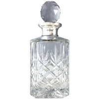 Traditional Cut Crystal Whisky Decanter with Sterling Silver Collar