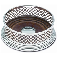 Sterling Silver Basket Weave Bottle Coaster with Mahogany Base