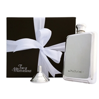 Hallmarked Solid Sterling Silver Rectangular Hip Flask with Solid Silver Funnel