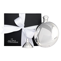 Solid Sterling Silver Round Hip Flask with Sterling Silver Funnel Gift Set