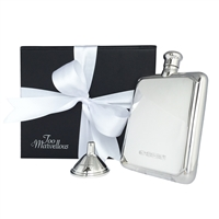 Solid Sterling Silver Heavy Rectangular Hip Flask with Sterling Silver Funnel Gift Set