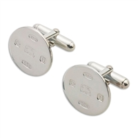 Sterling Silver Cufflinks. Round with Feature Hallmark
