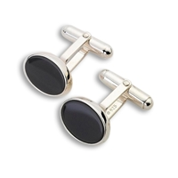 Cased Solid Sterling Silver and Black Onyx Cufflinks.