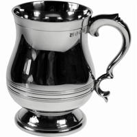 Pewter Georgian Style Pint Tankard with Polished Finish