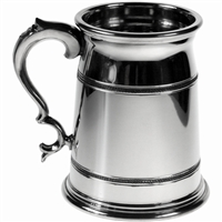 Pewter Old London Style Pint Tankard with Polished Finish