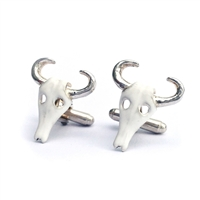 Sterling Silver Steer Head Enamelled Cufflinks