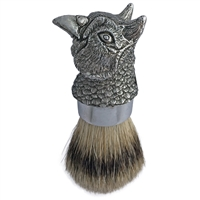 Pewter Pheasant Head Shaving Brush, Badger Bristle