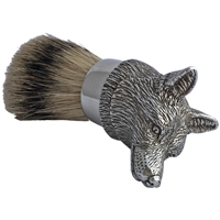 Pewter Fox Head Shaving Brush with Badger Bristle