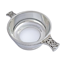 English Pewter Quaich with Glass Bottom
