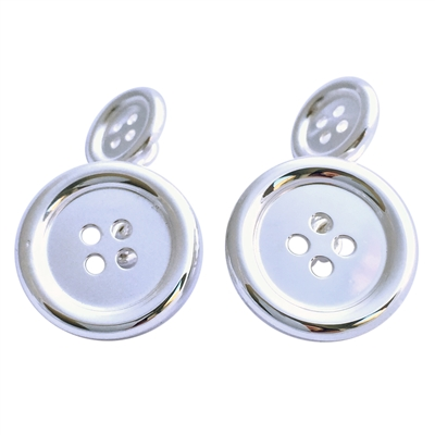Sterling Silver Button Style Cufflinks