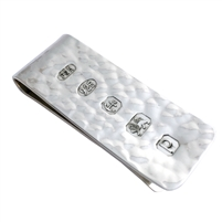 Sterling Silver Hammered Money Clip with Feature Hallmark