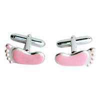 Sterling Silver and Pink Enamel Baby Feet Cufflinks