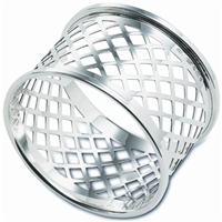Sterling Silver Napkin Ring with Basket Weave Design