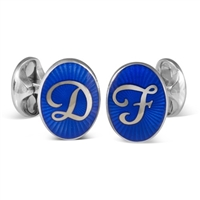 Sterling Silver Blue Enamel Personalised Initial Cufflinks