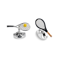 Sterling Silver Hand Enamelled Tennis Racket Cufflinks by Deakin & Francis