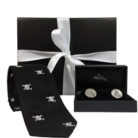 Skull & Crossbones Gentlemen's Black Tie and Cufflinks Gift Set