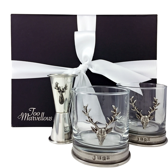 The Richmond Stag Whisky Tumbler and Measure Gift Set