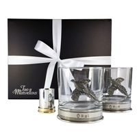 The Garrowby Pewter Pheasant Tumbler and Cartridge Spirit Measure Gift Set