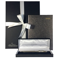 The Chelsea 2018 Leather Desk Diary and Sterling Silver Personalised Pen Gift Set with Graphite Diary