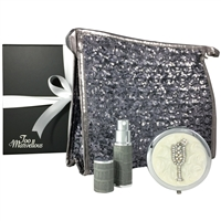 Silver Sparkles Sequin Makeup Bag, Mirror and Atomiser Gift Set