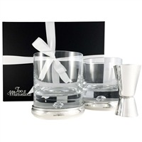 Whisky Connoissuer Sterling Silver & Crystal Tumbler and Spirit Measure Jigger Gift Set