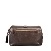 The DunoL Large Italian Leather Gentleman's Toiletry Wash Bag