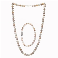 Necklace & Bracelet Suite of Multi Coloured Freshwater Pearls
