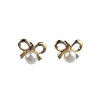 9ct Yellow Gold Bow Design Earring Studs with Freshwater White Pearl