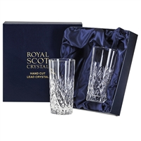 Pair Crystal Edinburgh Design Tall Tumbler Glasses by Royal Scot Crystal