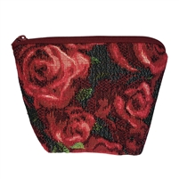 Small Tapestry Makeup Purse. Roses Design with Zip