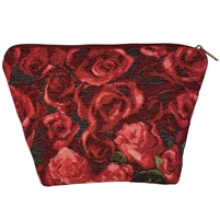 Medium Tapestry Style Makeup Bag with Two Pockets. Roses Design with Zip