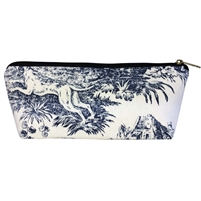 Long Tapestry Makeup and Brush Purse. Toile de Jouy Design with Zip