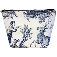 Medium Tapestry Style Makeup Bag with Two Pockets. Toile de Jouy Design with Zip