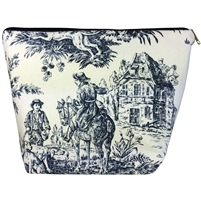 Large Tapestry Style Makeup & Toiletries Bag with Two Compartments. Toile de Jouy Design with Zip