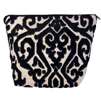 Large Tapestry Style Makeup & Toiletries Bag with Two Compartments. Black Flock Design with Zip