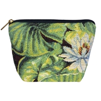 Small Tapestry Makeup Purse. Water Lily Design with Zip