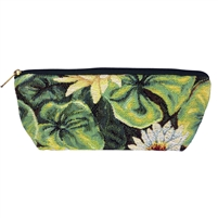 Long Tapestry Makeup and Brush Purse. Water Lily Design with Zip