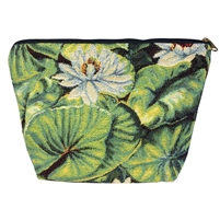Medium Tapestry Style Makeup Bag with Two Pockets. Water Lily Design with Zip