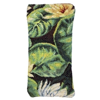 Tapestry Style Eye Glasses Case with Magnetic Closure. Water Lily Design. Fully Lined