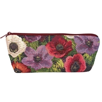 Long Tapestry Makeup and Brush Purse. Anemone Design with Zip