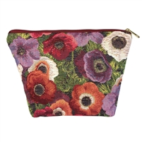Medium Tapestry Style Makeup Bag with Two Pockets. Anemone Design with Zip