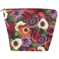 Large Tapestry Style Makeup & Toiletries Bag with Two Compartments. Anemone Design with Zip