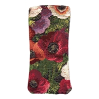 Tapestry Style Eye Glasses Case with Magnetic Closure. Anemones Design. Fully Lined