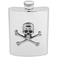 English Pewter 'Poison' Skull & Cross Bones 6oz Hip Flask