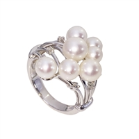 9ct White Gold Fancy Freshwater Pearl and Diamond Cluster Ring