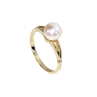 9ct Yellow Gold Solitaire Cultured Akoya Pearl with Open Shoulders Dress Ring